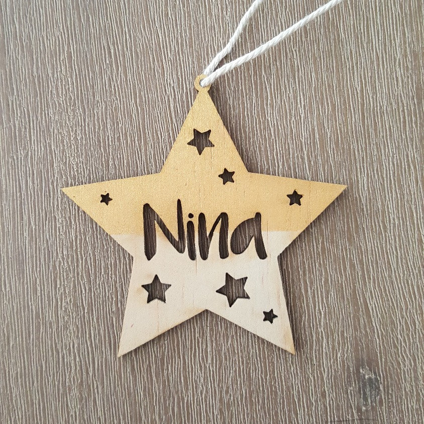 Personalised Wooden Star Christmas Decoration