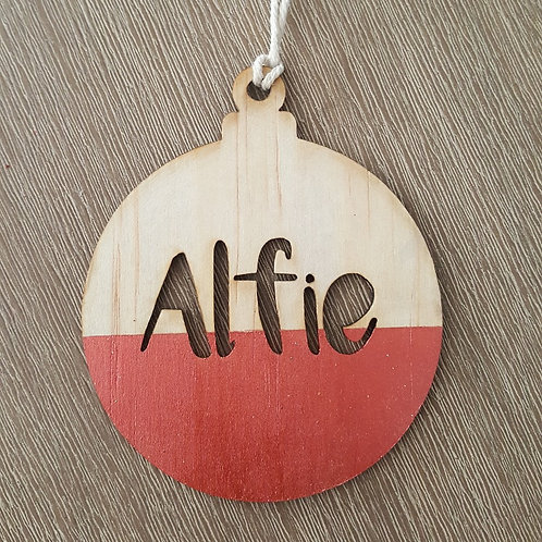 Personalised Wooden Ball Christmas Decoration