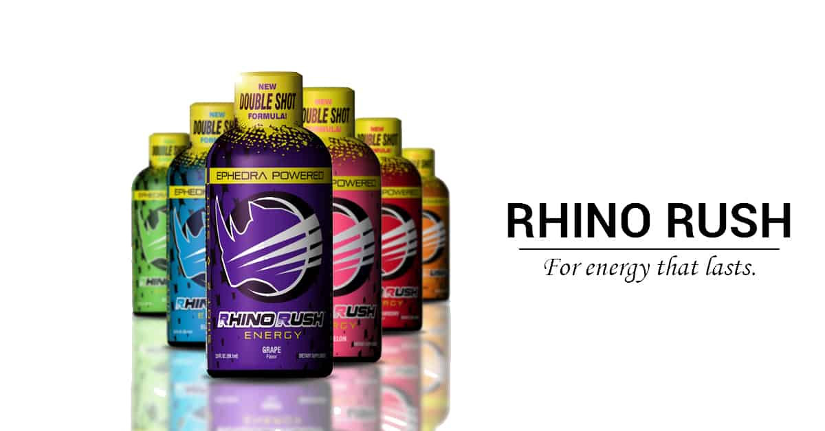 RHINO RUSH ENERGY 2oz SHOTS 6 PK - VARIETY PACK - NEW DOUBLE SHOT FORMULA!