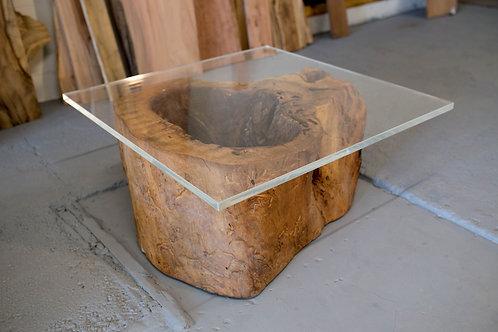 Pecan & Acrylic Table