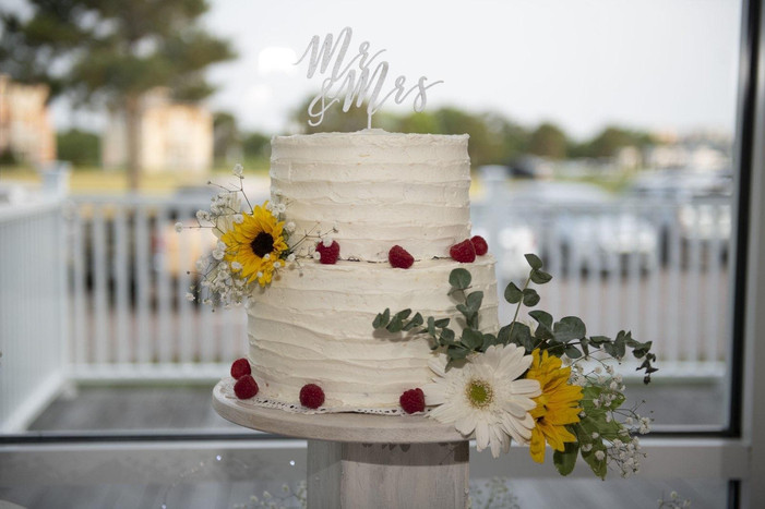 Lemon Rasberry Two Tier Wedding Cake