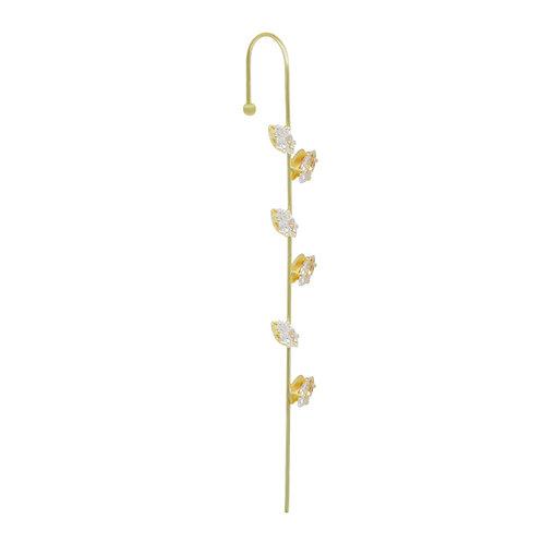 Rhinestone Leaf Ear Wrap Pin