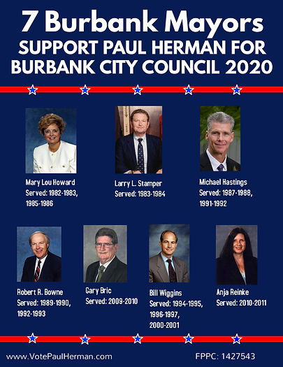7 Mayors Endorse Paul Herman for Burbank
