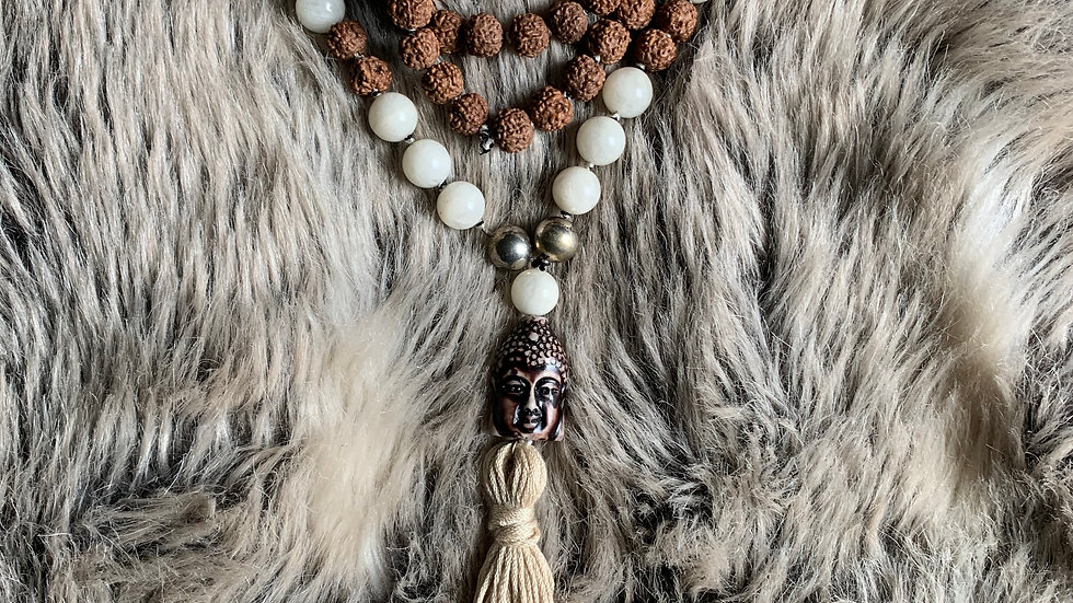 Mala108 Beads Rudraksha & White Moonstone