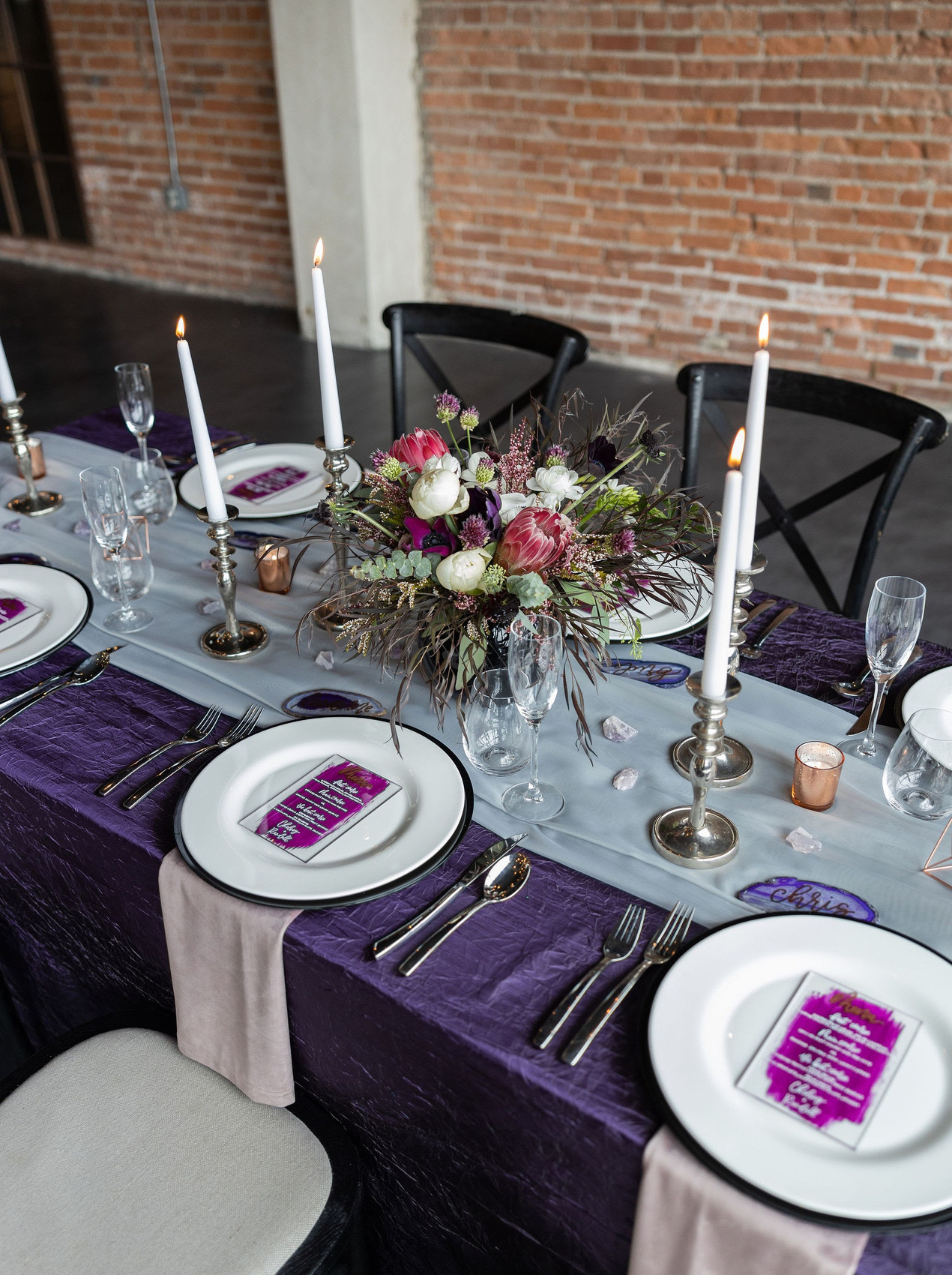 Violet wedding tablescape
