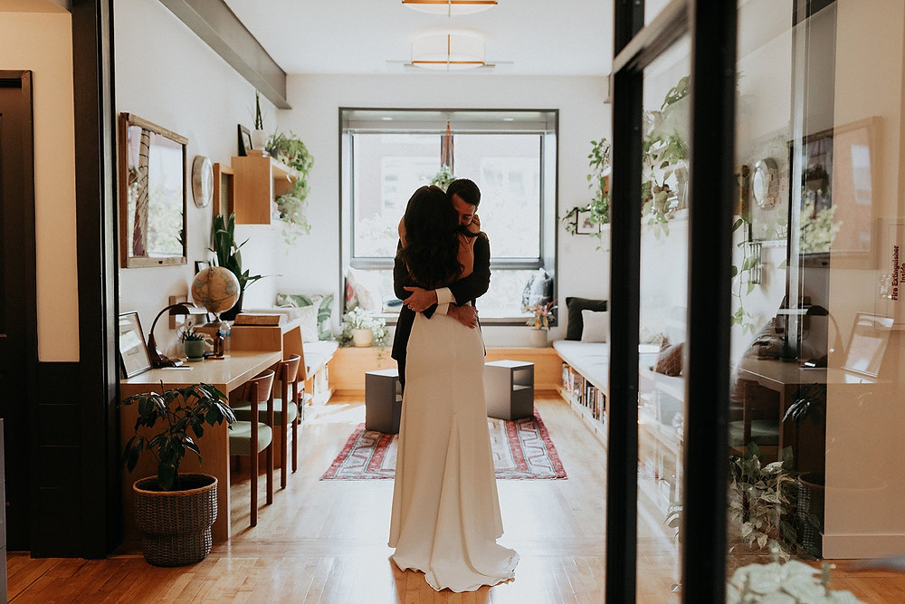 First Look for Chicago bride and groom