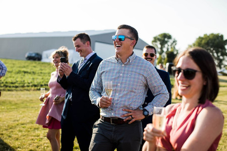 Guests at outdoor wedding