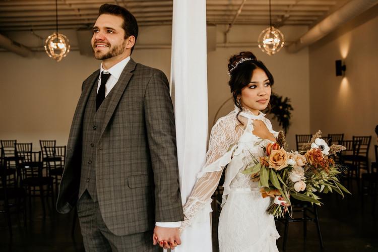 Bride and groom indoor portraits