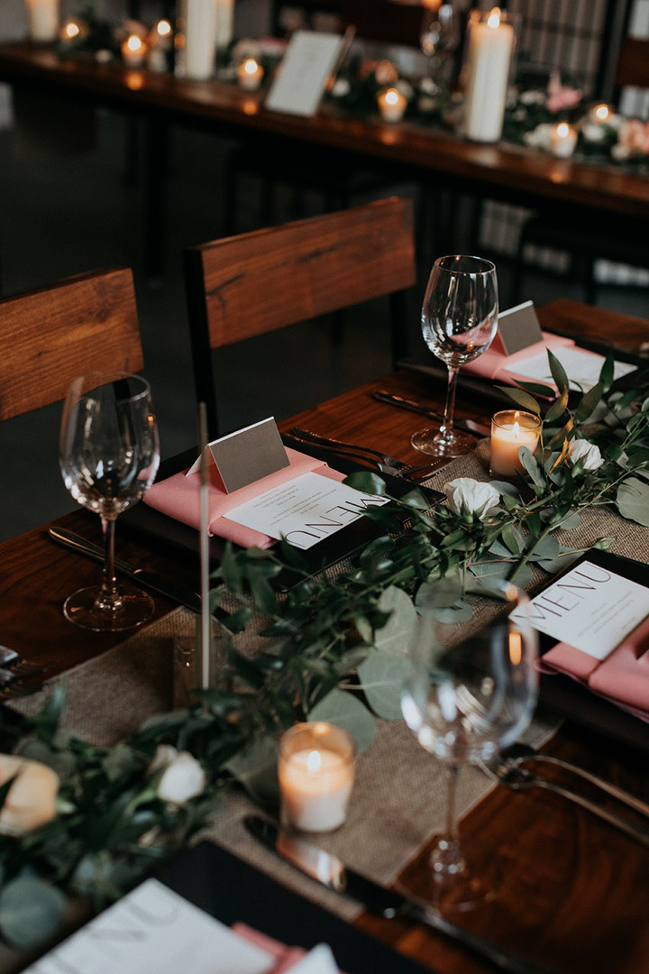 Wedding reception table setting at Chicago venue
