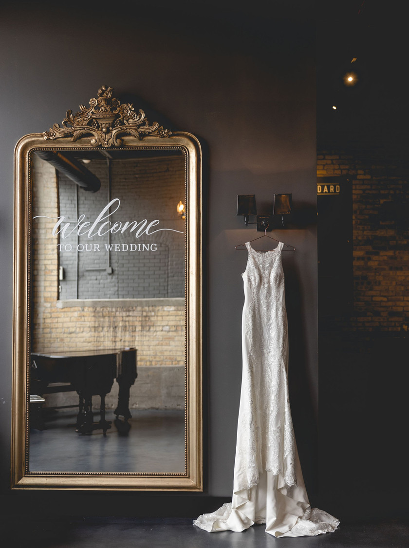 Wedding dress and welcome sign