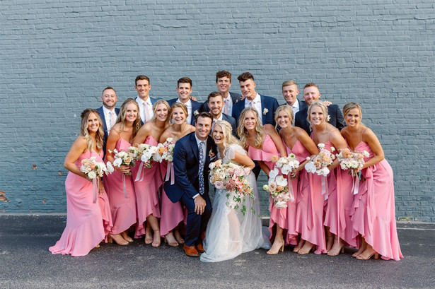 Wedding party in the summer