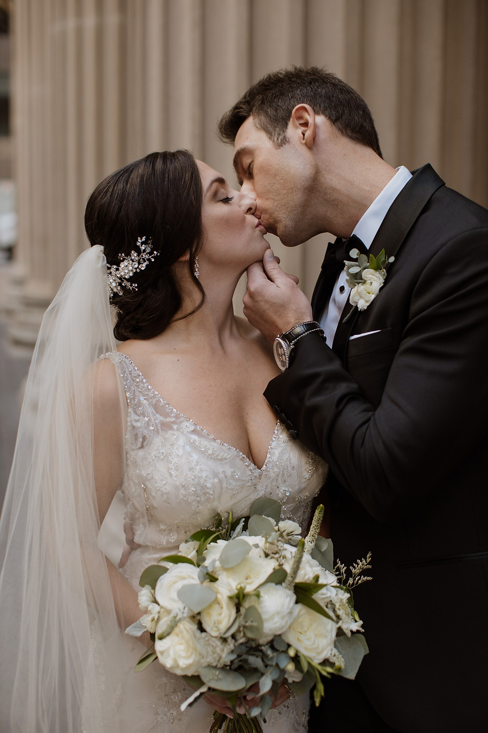 Glamorous Chicago bride and groom on wedding day