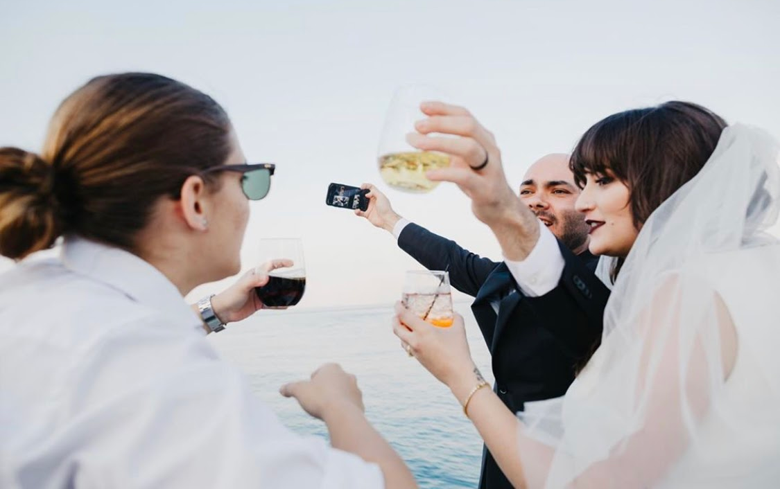 Friends toast for wedding in Chicago