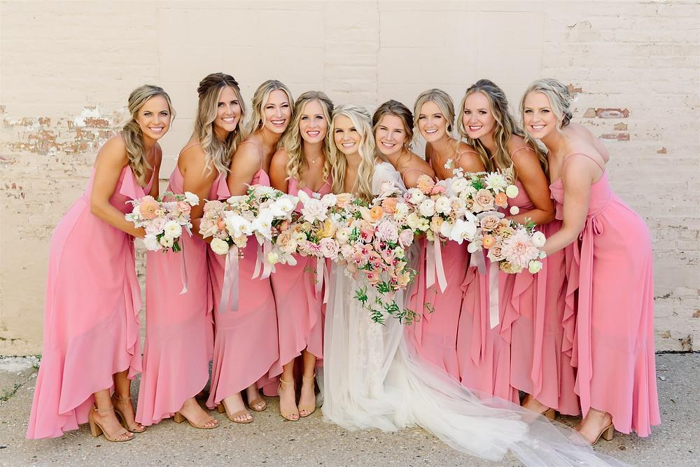 Bridal party at summer wedding