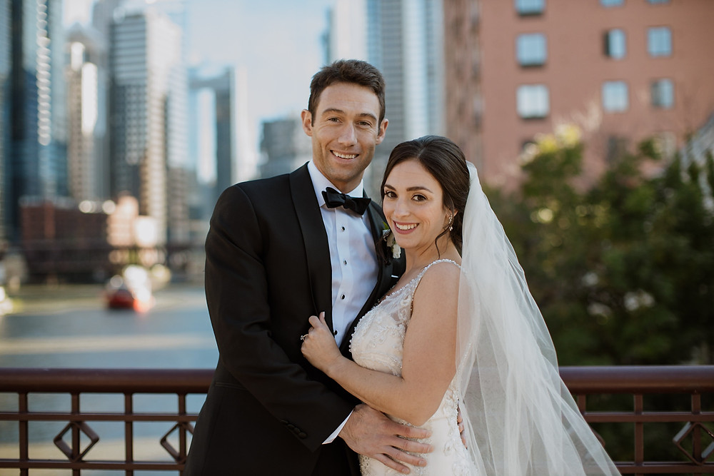 Wedding portraits on Kinzie Bridge Chicago