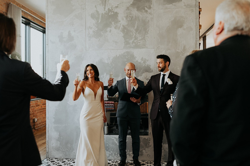Wedding ceremony champagne toast