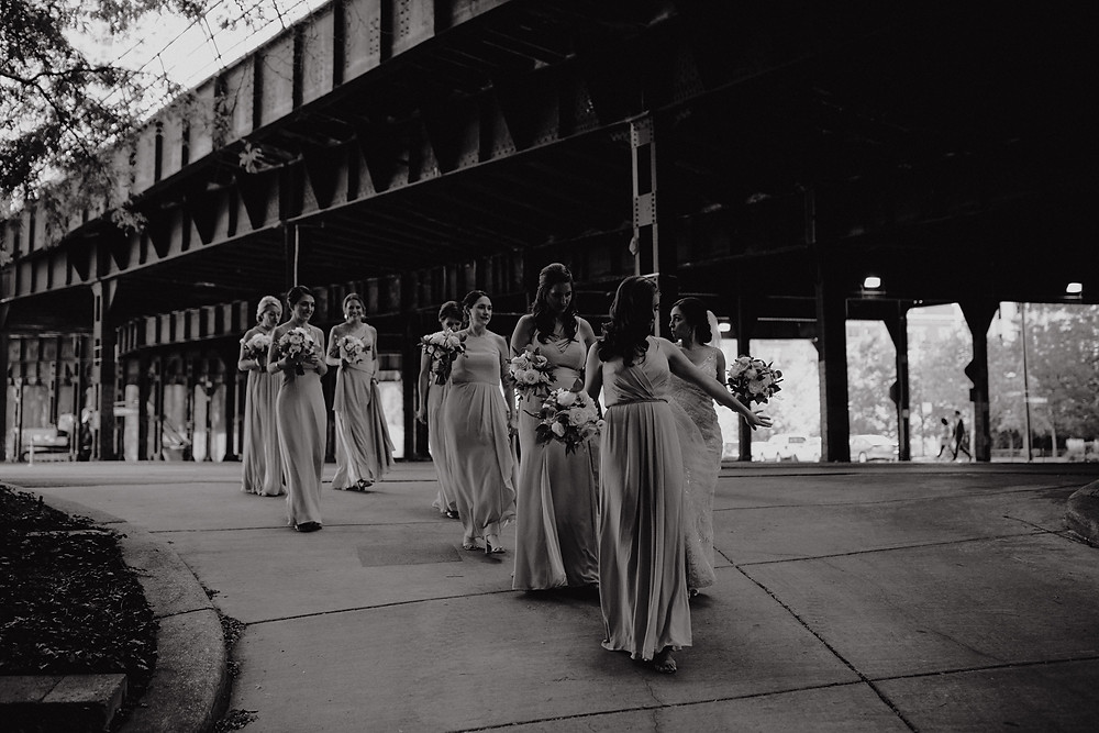 Bridesmaids walking in downtown Chicago
