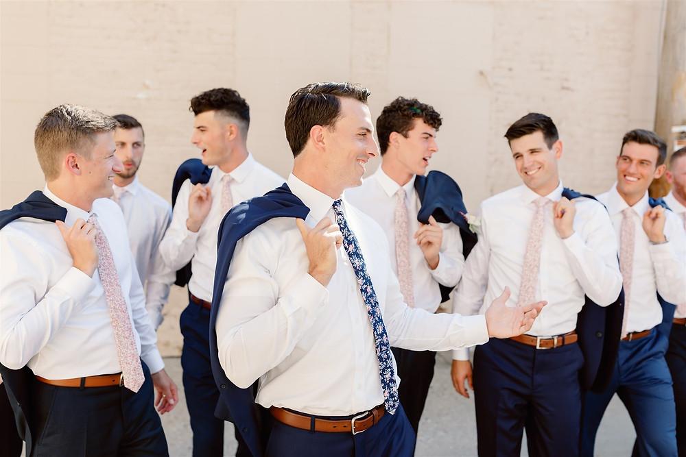 Groomsmen posing on wedding day