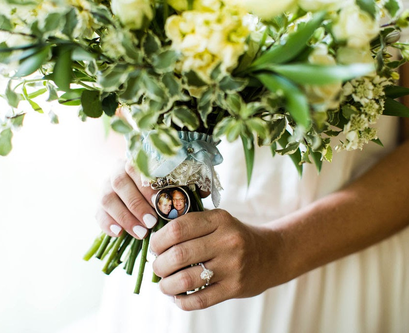 Bridal bouquet with locket