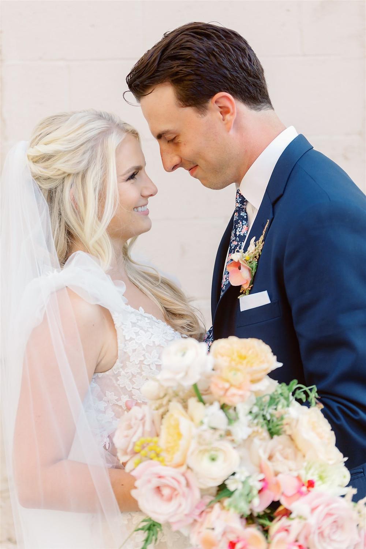 Bride and groom at summer wedding