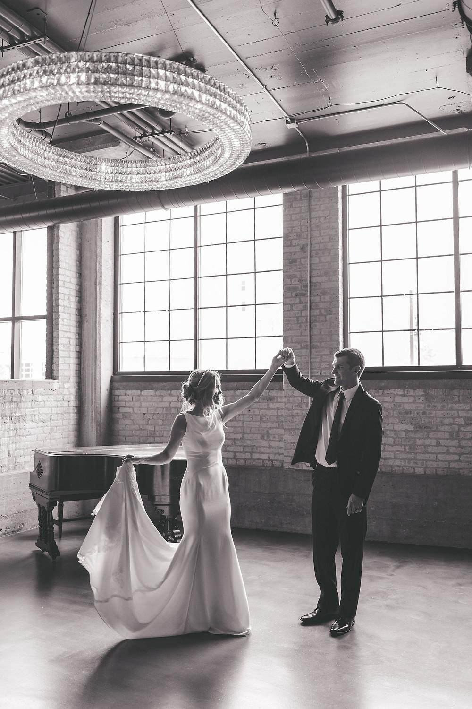 Bride and groom dancing at Rockford wedding venue