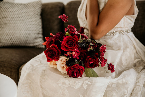 Red and burgundy bridal bouquet