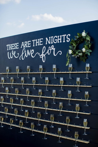 Champagne wall at reception