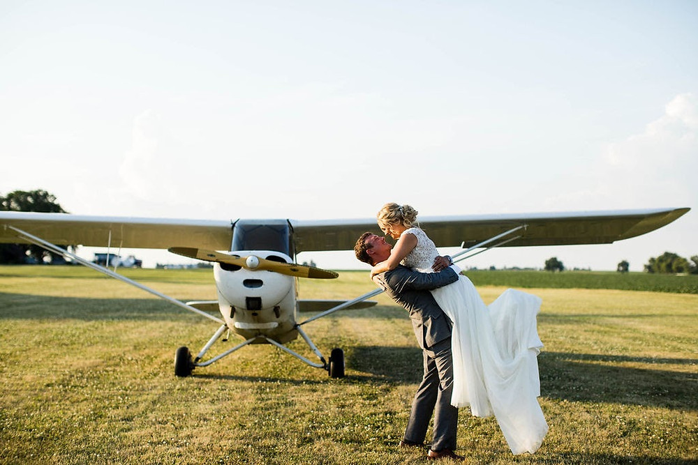 Wedding photography with airplane