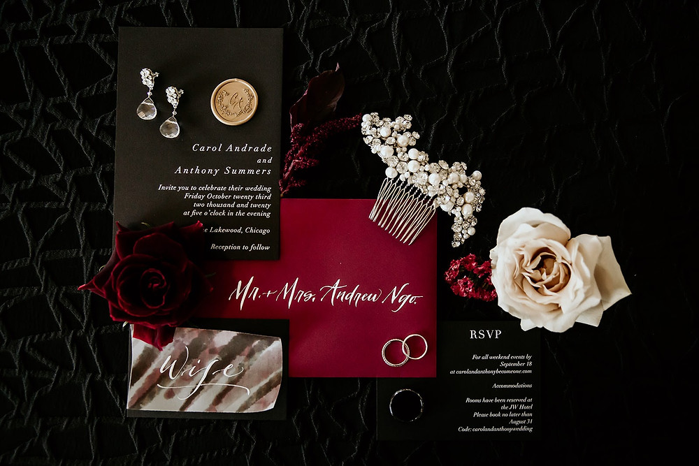 Black and burgundy wedding invitation suite