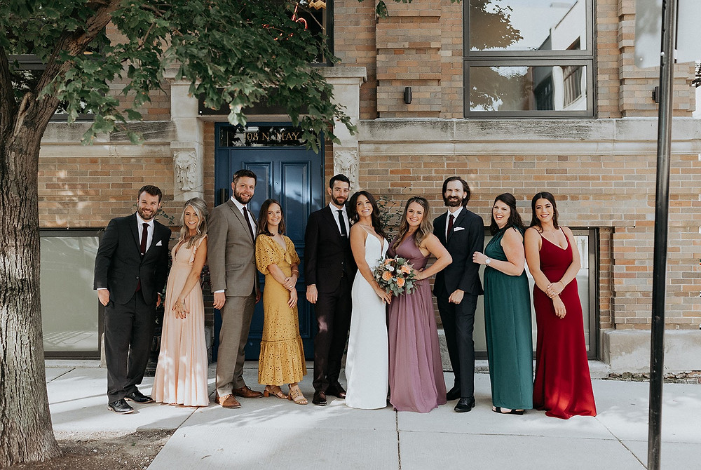 Wedding party in mismatched dresses