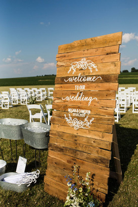 Welcome sign for farm wedding