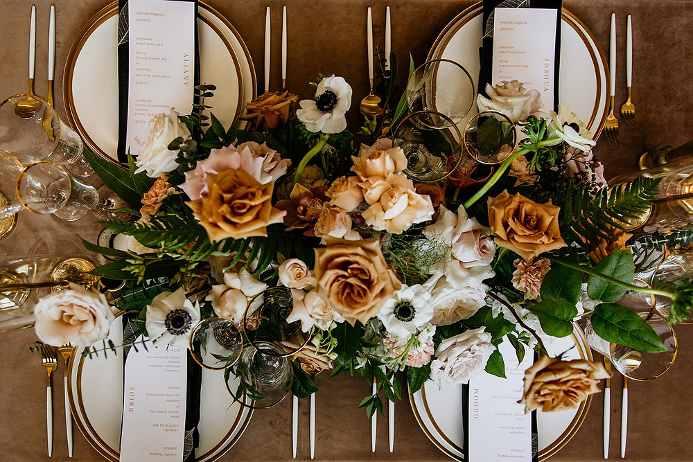 Fall wedding floral centerpiece and place settings