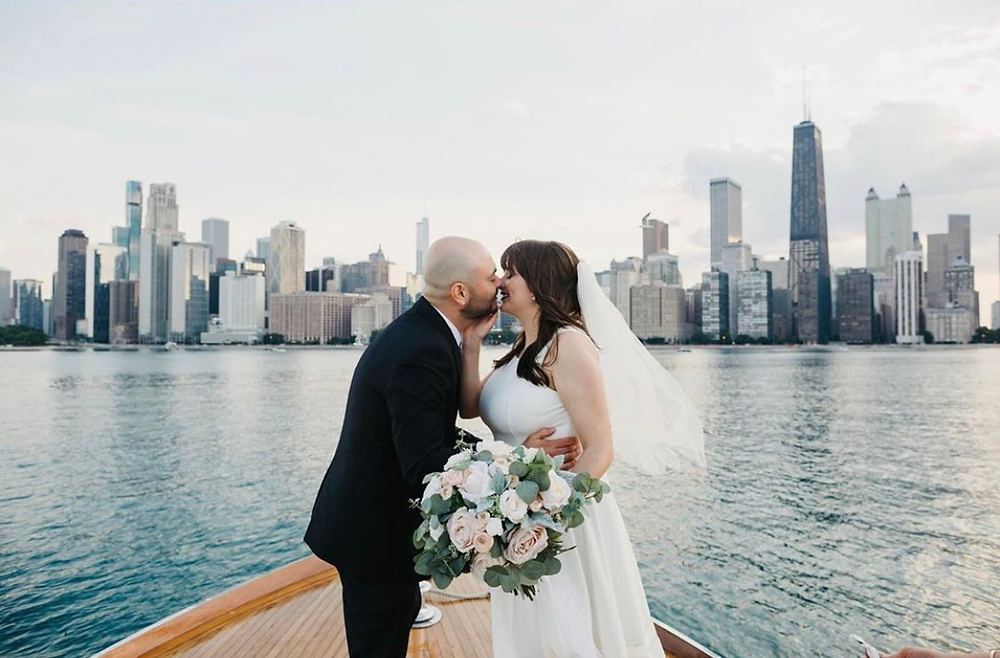 Chicago boat wedding with skyline