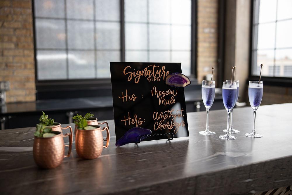 Signature cocktails at wedding