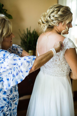 Bride with mother on wedding day