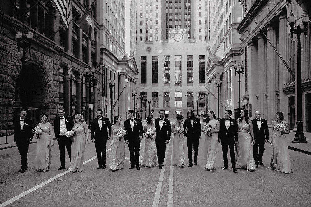 Wedding party photos in downtown chicago