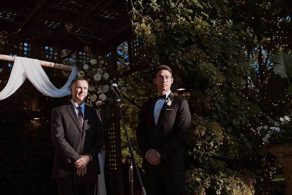 Groom at wedding ceremony