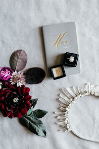 Wedding flatlay with rings