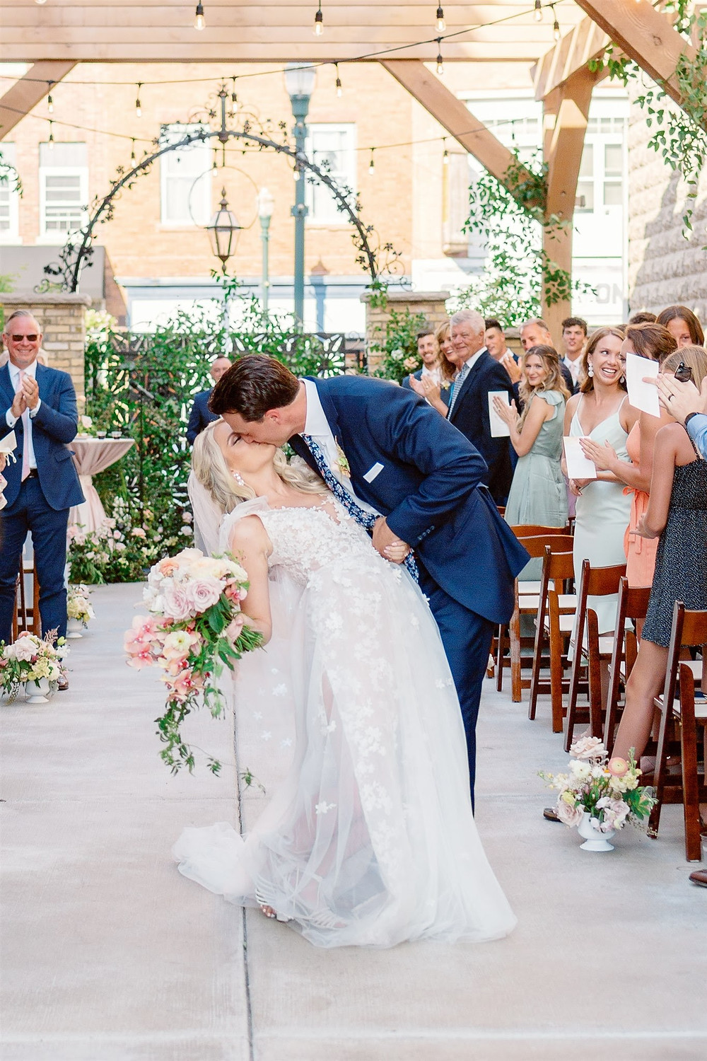 First kiss at wedding ceremony
