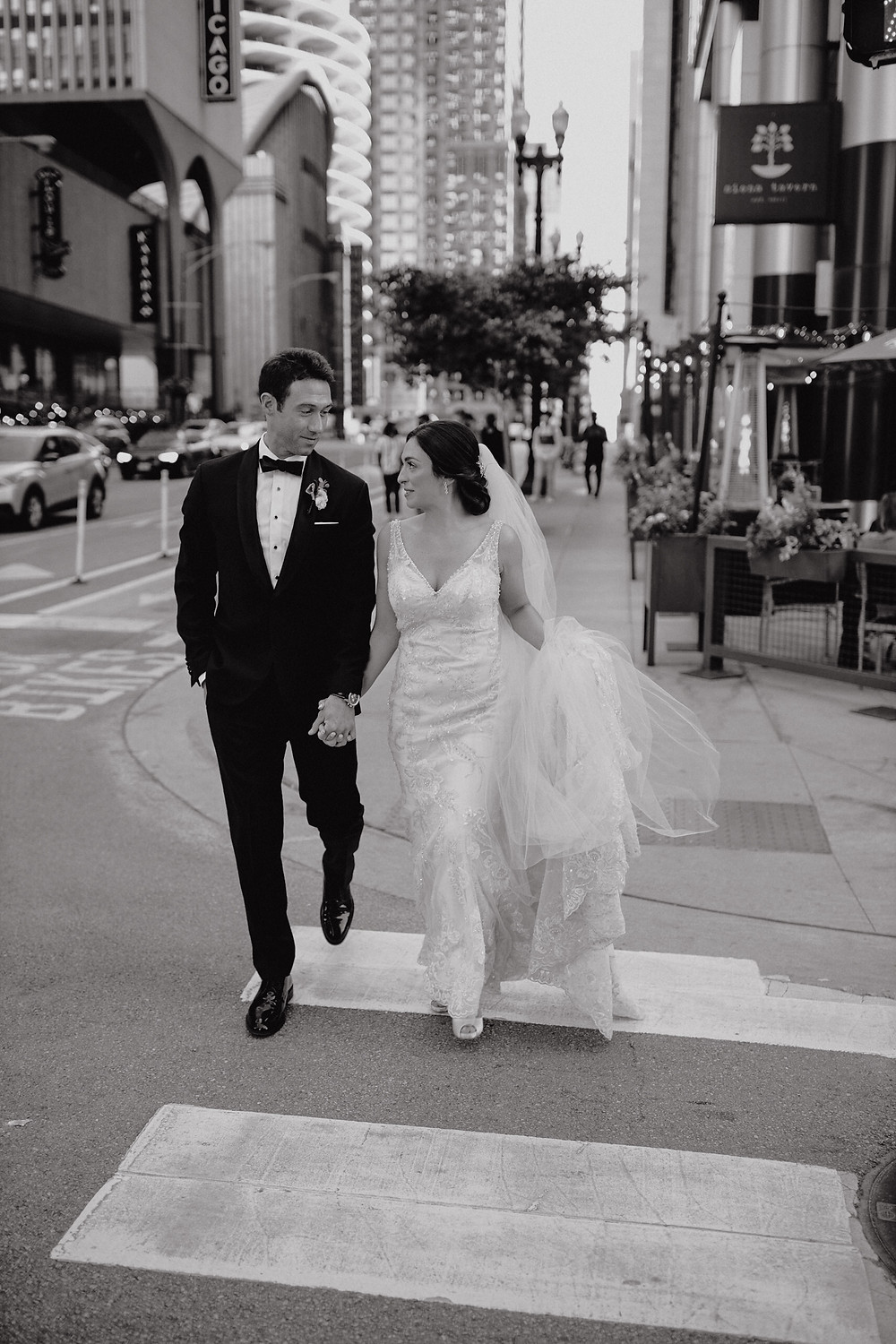 Bride and groom in River North Chicago