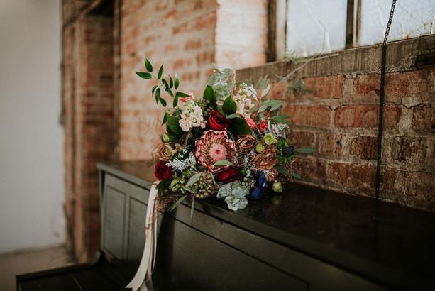 Bridal bouquet in Chicago loft
