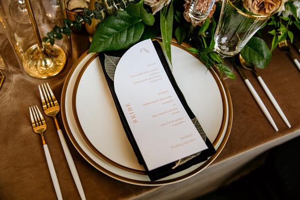 Menu card on table at wedding reception