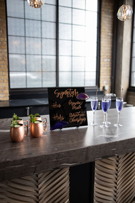 Signature cocktails on bar