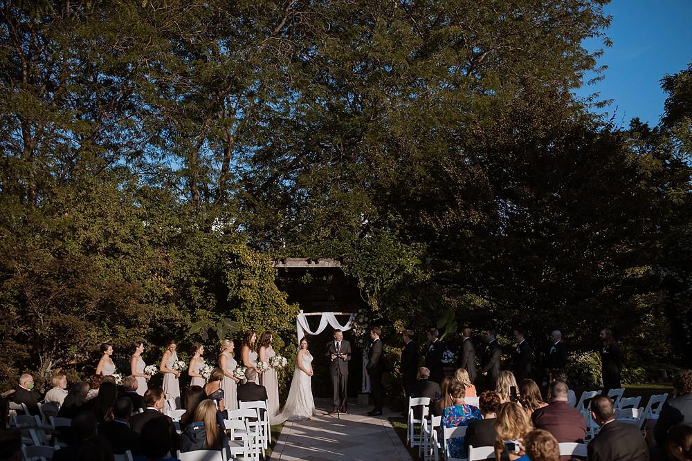 Wedding ceremony under trees in chicago illinois