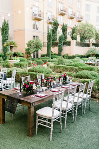 Farm Tables at outdoor reception