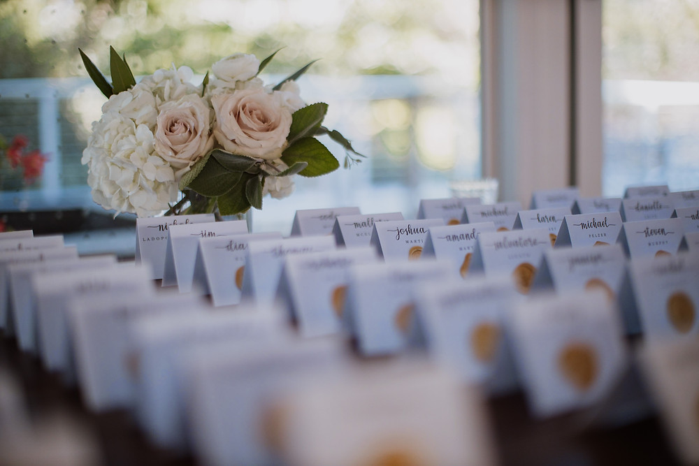 White and gold escort cards