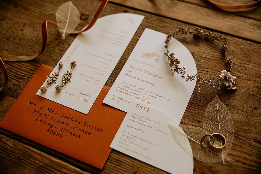 Wedding invitation suite flatlay