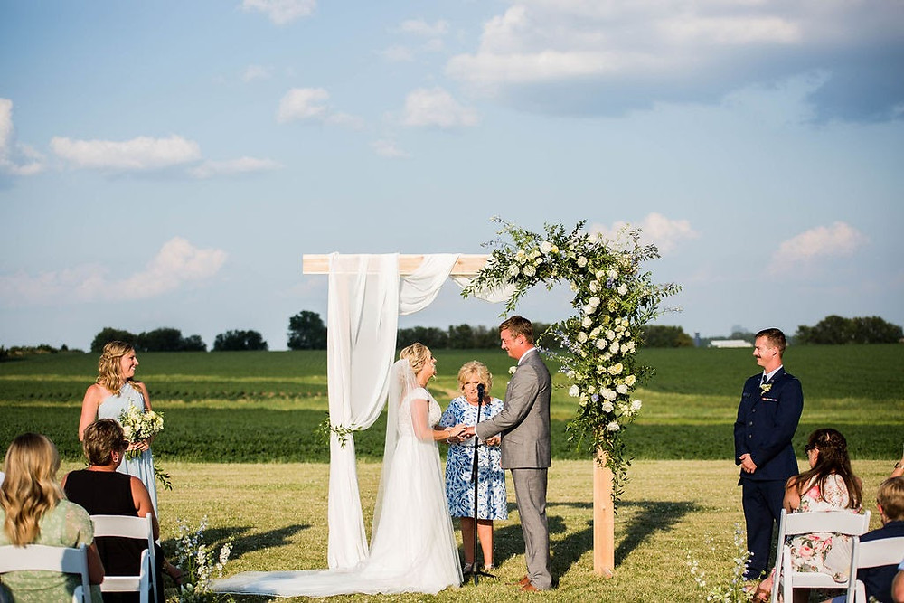 Illinois farm wedding ceremony