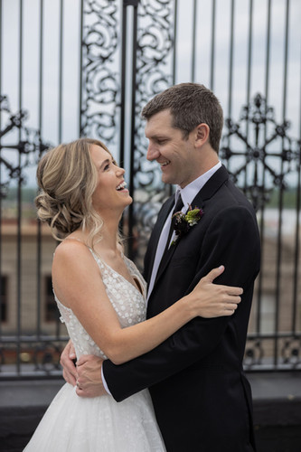 Happy bride and groom in Illinois