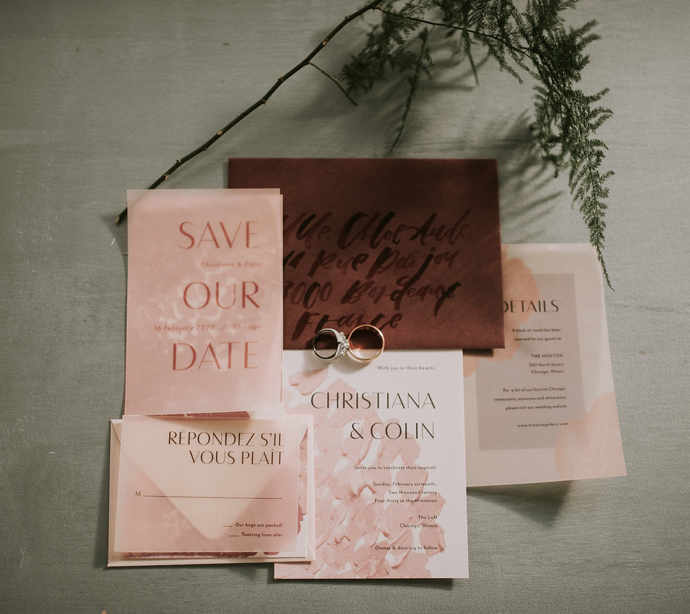 Invitation suite with wedding rings